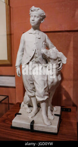 House of Bonaparte family,Ajaccio : replica of a sculpture by Carpaux figuring the son of Napoleon III and Eugénie - Stock Photo