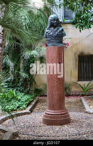 House of Bonaparte family in Ajaccio : gardens,column supporting a bust of l'Aiglon (son of Napoléon) sculpture - Stock Photo