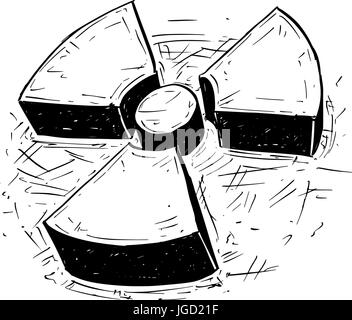 Vector doodle hand drawing illustration of nuclear radiation symbol. - Stock Photo