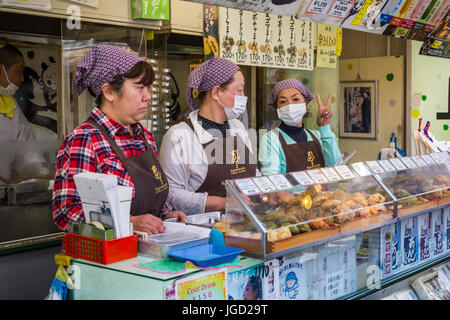 An outdoor food market in Asakusa, Tokyo, Japan. - Stock Photo