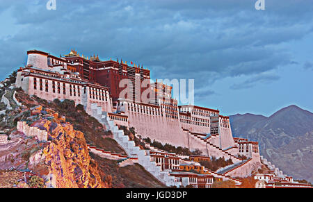 Twilight Scene of Potala Palace in Lhasa, Tibet Autonomous Region. Former Dalai Lama residence, now is a museum - Stock Photo