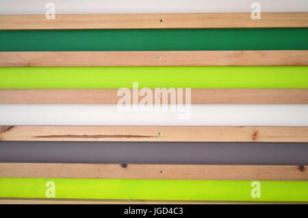 Wooden striped wall background. Green, white, grey, natural planks - Stock Photo