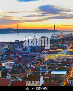 Lisbon Od Town view in the beautiful twilight. Portugal - Stock Photo