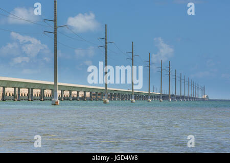 The long Florida Overseas Highway which carries Route 1 from Miami to Key West - Stock Photo