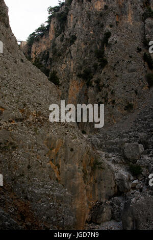 Aradena Gorge is a deep limestone canyon running from the Lefka Ori or White Mountains down to the South coast of - Stock Photo
