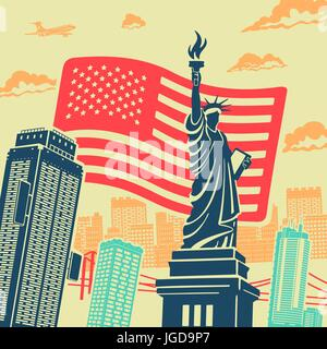 Statue of Liberty Vector Background - Stock Photo