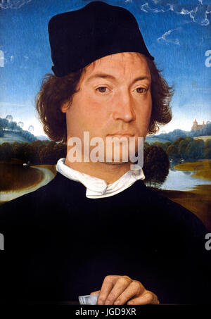 Portrait of an Unknown Man with a Letter 1485 Hans Memling  1430 - 1494 German Germany ( Provenance: The Corsini - Stock Photo