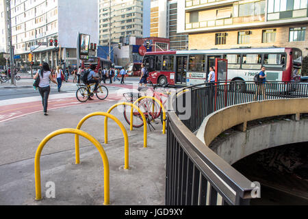 Bike path, paraciclos, Cyclist Square, 17.09.2015, Capital Avenue Paulista, São Paulo, Brazil. - Stock Photo