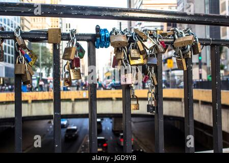 Chains, padlocks, grid, Cyclist Square, 17.09.2015, Capital Avenue Paulista, São Paulo, Brazil. - Stock Photo