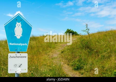 WANGEROOGE, GERMANY.  04th July 2017:  View of the sign of the national park on the island wangeroog, one of the - Stock Photo
