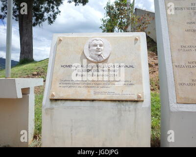 18TH JUNE 2017, PAIPA, COLOMBIA - A plaque commemorates General Lucas Carvajal who led the independence army against - Stock Photo