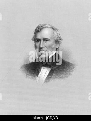 Engraved portrait of Zachary Taylor, a major general in the United States Army and the 12th President of the United - Stock Photo