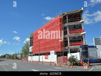 Christchurch, New Zealand - October 12, 2013:  New office block under construction on the corner of Victoria and - Stock Photo