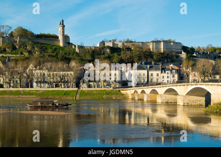 Chinon town and chateau on the banks of the Vienne river on a sunny spring afternoon, Indre-et-Loire, France - Stock Photo