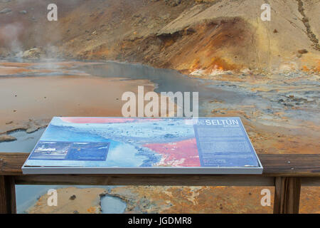 Information board at Seltun, geothermal field showing volcanic fumaroles, mud pots and hot springs, Reykjanes Peninsula, - Stock Photo