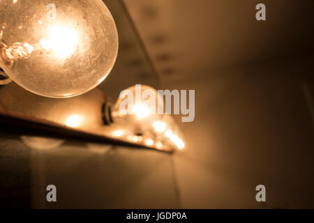 close up beauty mirror light bulbs - Stock Photo