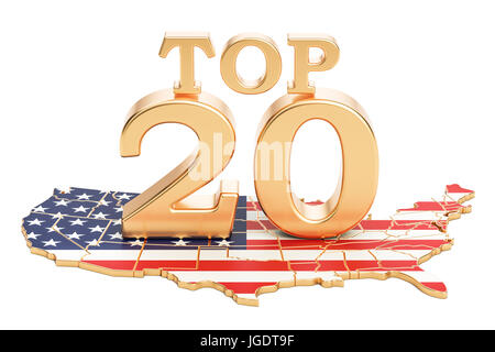 USA Top 20 concept, 3D rendering isolated on white background - Stock Photo