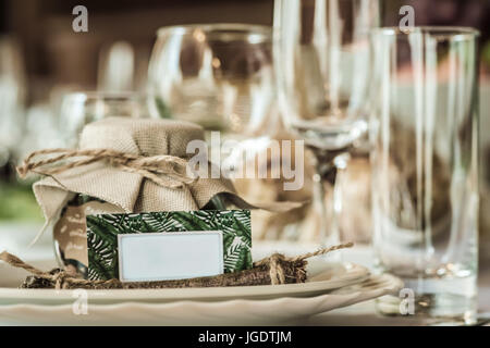 Rustic Table Setting For A Wedding Celebration In Nice Cozy Restaurant.  Wineglasses, Plates And