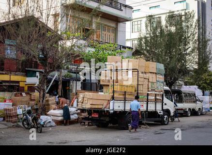 Mandalay, Myanmar - Feb 20, 2016. A truck parking on street in Mandalay, Myanmar. Mandalay is the second-largest - Stock Photo