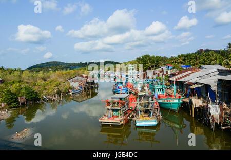 Phu Quoc, Vietnam - May 11, 2016. Fishing boats on Cai River in Phu Quoc Island, Vietnam. Phu Quoc is a Vietnamese - Stock Photo