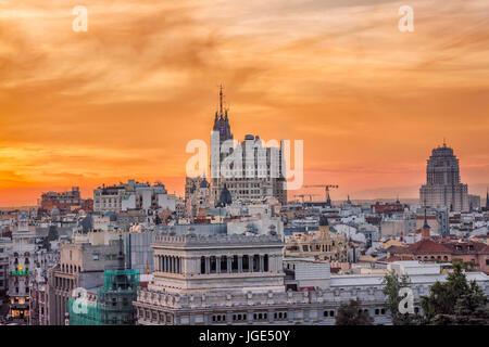 Madrid city center skyline. Madrid, Spain. - Stock Photo