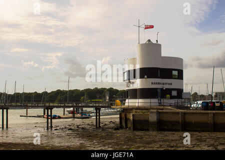 The harbour Masters office overlooking the marina and the river Hamble in Warsash in Hampshire on the south coast - Stock Photo