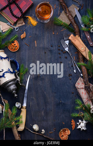 Culinary background, table with cooking facilities, restaurant menu frame. Christmas theme. Top view, copy space. - Stock Photo
