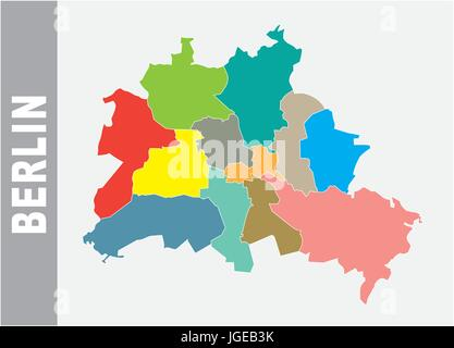 Colorful Berlin administrative and political vector map - Stock Photo