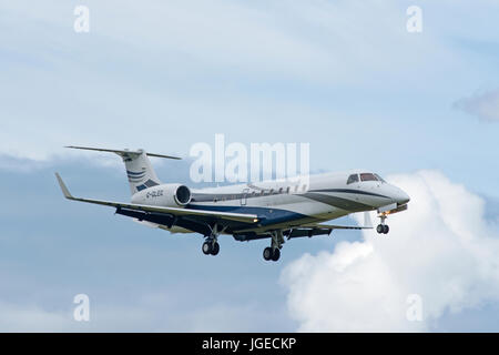 Ember ERJ 135 Legacy 600 Aircraft at Dalcross airport Inverness in the Scottish Highlands UK - Stock Photo