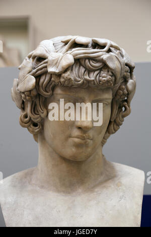 Antinous (111-130). Bithynian Greek youth and favourite, or lover of emperor Hadrian. Bust, from Rome. British Museum. - Stock Photo