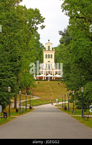 CROATIA ZAGREB, 15 JULY 2011: Walkway to the viewpoint building in Maksimir park in Zagreb, Croatia - Stock Photo