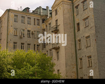 old brick built residential building in Moscow - Stock Photo