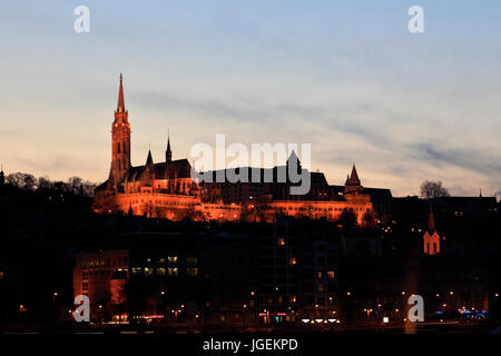 St Matthias Church at Dusk, Castle Hill, Budapest city, Hungary - Stock Photo