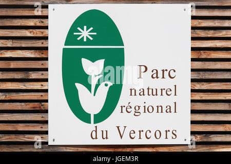 Saint Nazaire sur Royan, France - June 23 2017: Vercors Regional Natural Park board in France - Stock Photo