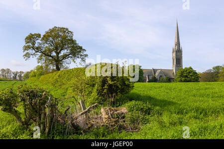 St Marys Church flanked by hedges, trees and a wheat field on a sunny morning in the village of South Dalton, Yorkshire, - Stock Photo