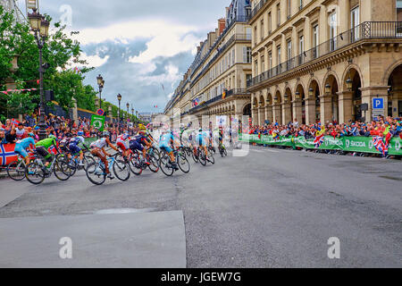 PARIS, FRANCE - JULY 26, 2015: the Tour de France peloton on the final stage on the roads around the tuileries in - Stock Photo