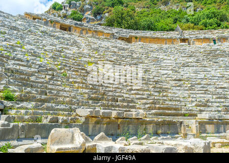 The view on rows of seats of amphitheater of Myra from its stage, Turkey. - Stock Photo