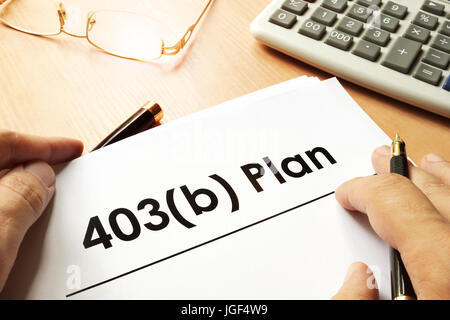 Document with sign 403b plan. Retirement concept. - Stock Photo