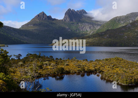 View from top of Glacial Rock across Dove Lake to Cradle Mountain, Cradle Mountain-Lake St Clair National Park, - Stock Photo