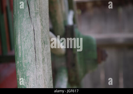 Close-up of an old, ancient wood well weel. - Stock Photo