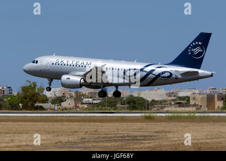 Luqa, Malta - July 6, 2017: CSA - Czech Airlines Airbus A319-112 [OK-OER] in SkyTeam livery arriving on a hot afternoon - Stock Photo