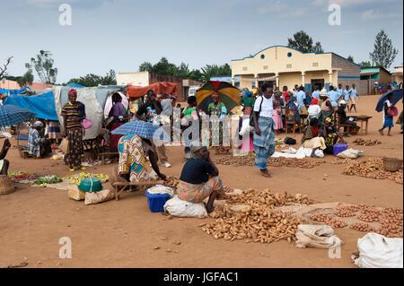 Street Market in a Rwandan village. Rwanda. - Stock Photo