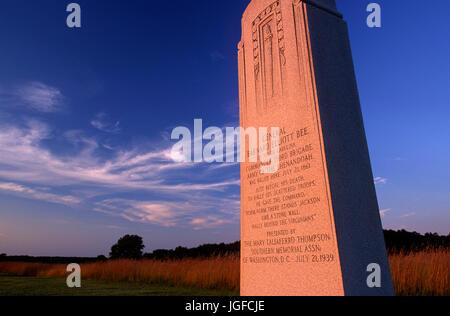 General Bee monument, Manassas National Battlefield Park, Virginia - Stock Photo