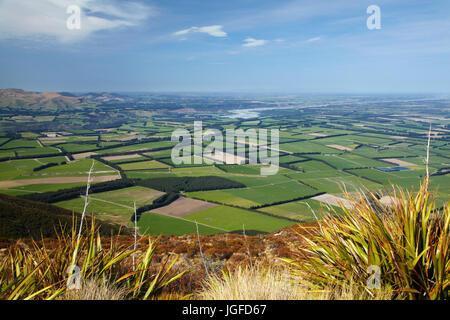 Canterbury Plains and Rakaia River seen from Mount Hutt, Mid Canterbury, South Island, New Zealand - Stock Photo