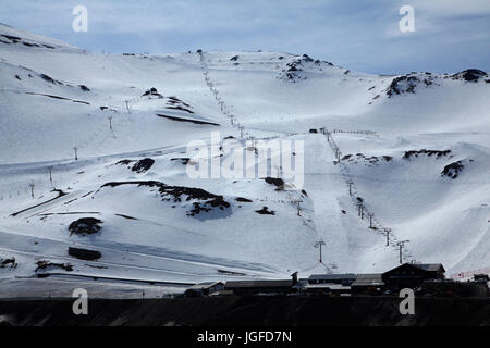 Chairlifts, Mount Hutt Ski Area, Mid Canterbury, South Island, New Zealand - Stock Photo