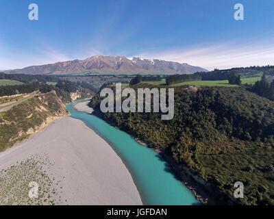 Mount Hutt Range, Rakaia River, and Rakaia Gorge, Canterbury, South Island, New Zealand - drone aerial