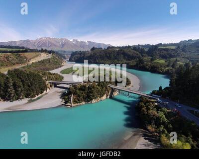 Mount Hutt Range, Rakaia Gorge Bridge (1882), Rakaia River, and Rakaia Gorge, Canterbury, South Island, New Zealand - drone aerial