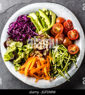 Buddha bowl. Vegetables nuts salad - Stock Photo