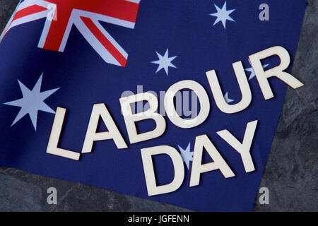 Labour Day Australia and flag. - Stock Photo