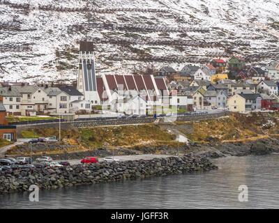 Hammerfest church (1961) is the main parish church in Hammerfest municipality, Finnmark County, northern Norway - Stock Photo